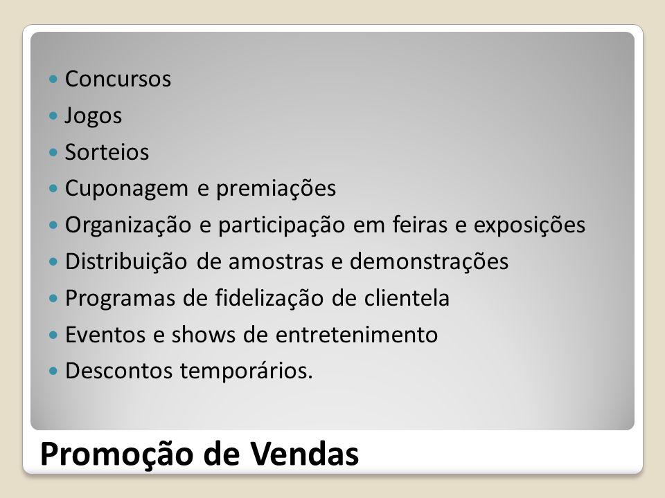 Promoção de Vendas Concursos Jogos Sorteios Cuponagem e premiações Organização e participação em feiras e exposições Distribuição de amostras e demons