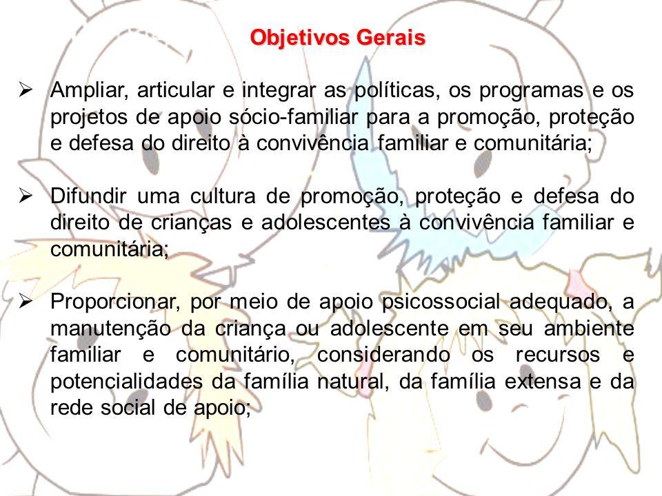 Objetivos Gerais Ampliar, articular e integrar as políticas, os programas e os projetos de apoio sócio-familiar para a promoção, proteção e defesa do
