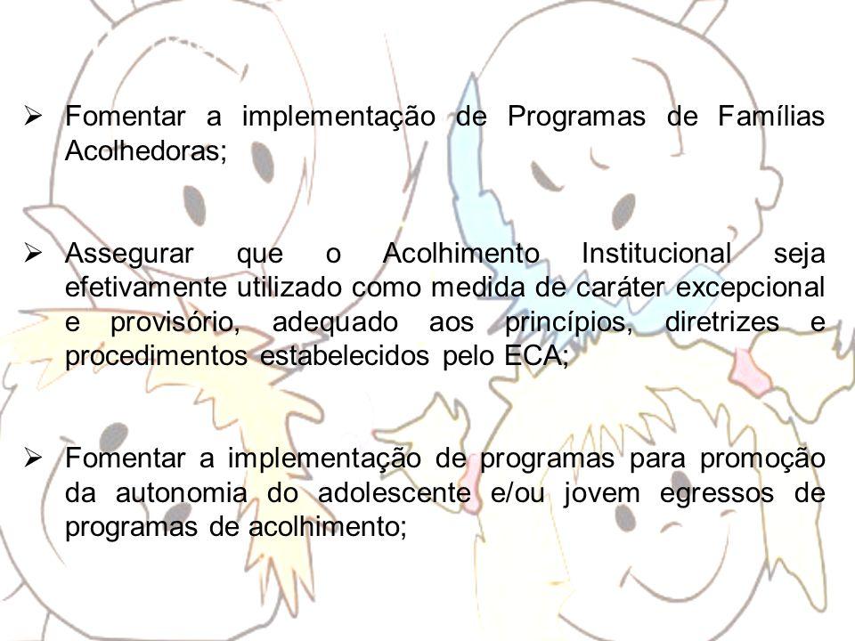Fomentar a implementação de Programas de Famílias Acolhedoras; Assegurar que o Acolhimento Institucional seja efetivamente utilizado como medida de ca