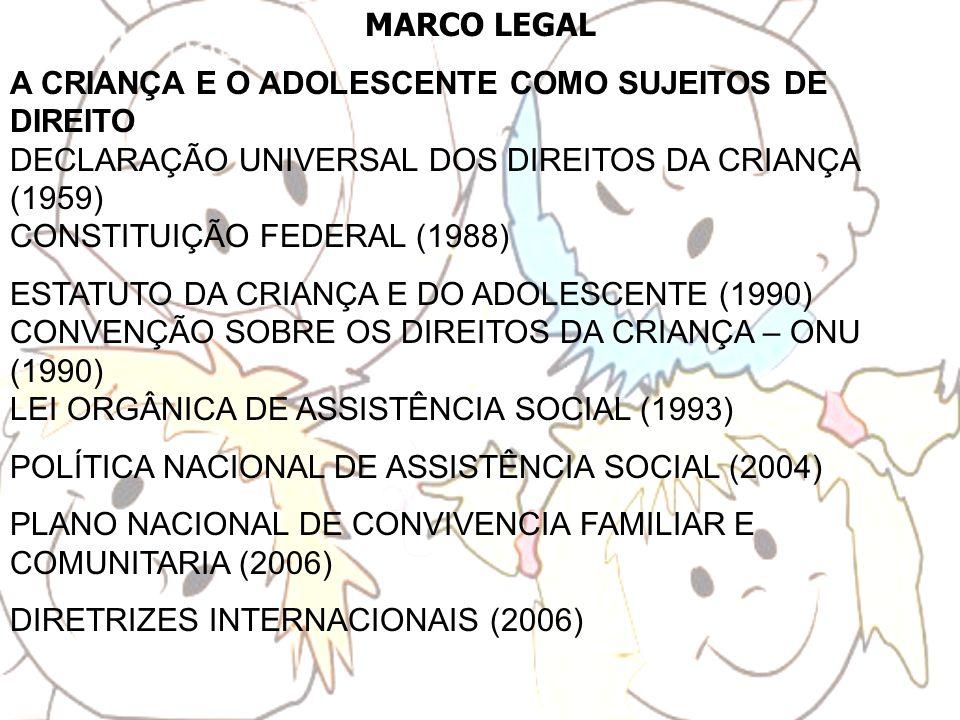 MARCO LEGAL A CRIANÇA E O ADOLESCENTE COMO SUJEITOS DE DIREITO DECLARAÇÃO UNIVERSAL DOS DIREITOS DA CRIANÇA (1959) CONSTITUIÇÃO FEDERAL (1988) ESTATUT