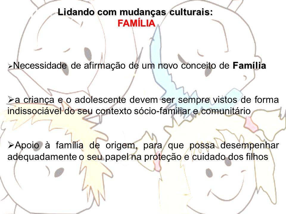 Lidando com mudanças culturais: FAMÍLIA FAMÍLIA Família Necessidade de afirmação de um novo conceito de Família a criança e o adolescente devem ser se