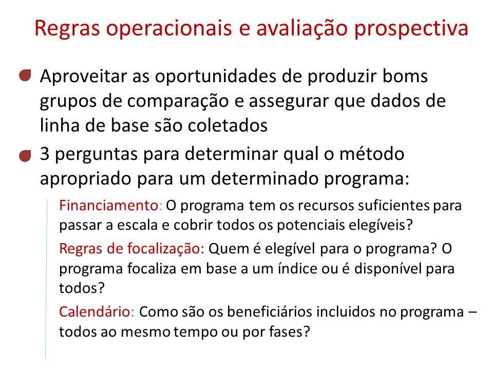 Regras operacionais e avaliação prospectiva 3 perguntas para determinar qual o método apropriado para um determinado programa: Financiamento: O progra