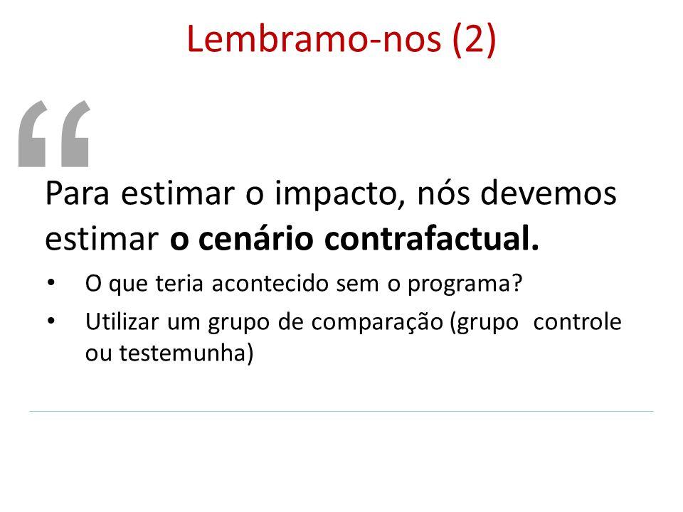 Lembramo-nos (2) Para estimar o impacto, nós devemos estimar o cenário contrafactual. O que teria acontecido sem o programa? Utilizar um grupo de comp