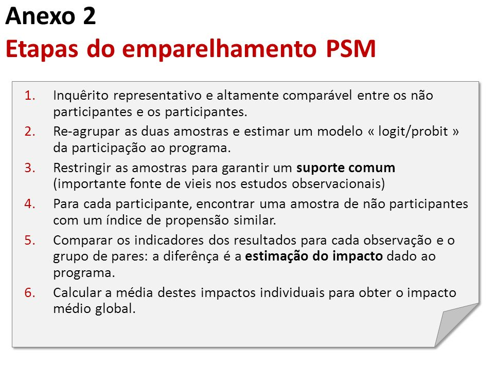 Anexo 2 Etapas do emparelhamento PSM 1.Inquêrito representativo e altamente comparável entre os não participantes e os participantes. 2.Re-agrupar as