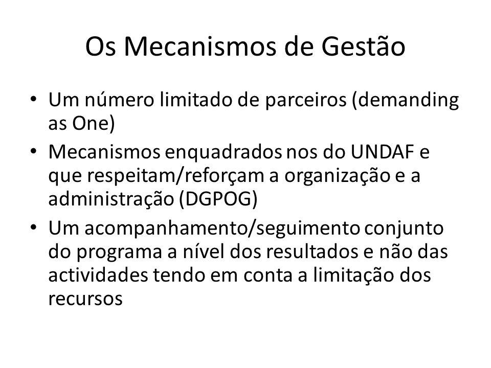 Os Mecanismos de Gestão Um número limitado de parceiros (demanding as One) Mecanismos enquadrados nos do UNDAF e que respeitam/reforçam a organização