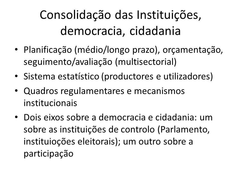 Consolidação das Instituições, democracia, cidadania Planificação (médio/longo prazo), orçamentação, seguimento/avaliação (multisectorial) Sistema est