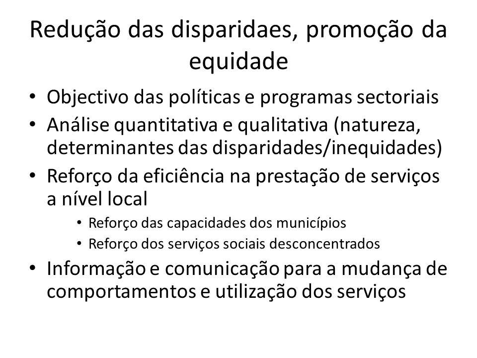 Redução das disparidaes, promoção da equidade Objectivo das políticas e programas sectoriais Análise quantitativa e qualitativa (natureza, determinant