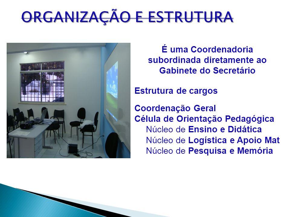 É uma Coordenadoria subordinada diretamente ao Gabinete do Secretário Estrutura de cargos Coordenação Geral Célula de Orientação Pedagógica Núcleo de