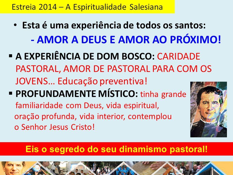 Estreia 2014 – A Espiritualidade Salesiana O PERFIL ESPIRITUAL de Dom Bosco: um homem CONTEMPLATIVO NA AÇÃO.