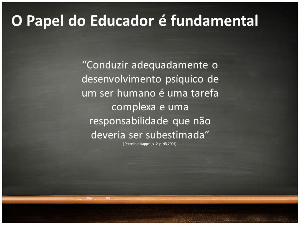 O Papel do Educador é fundamental Conduzir adequadamente o desenvolvimento psíquico de um ser humano é uma tarefa complexa e uma responsabilidade que