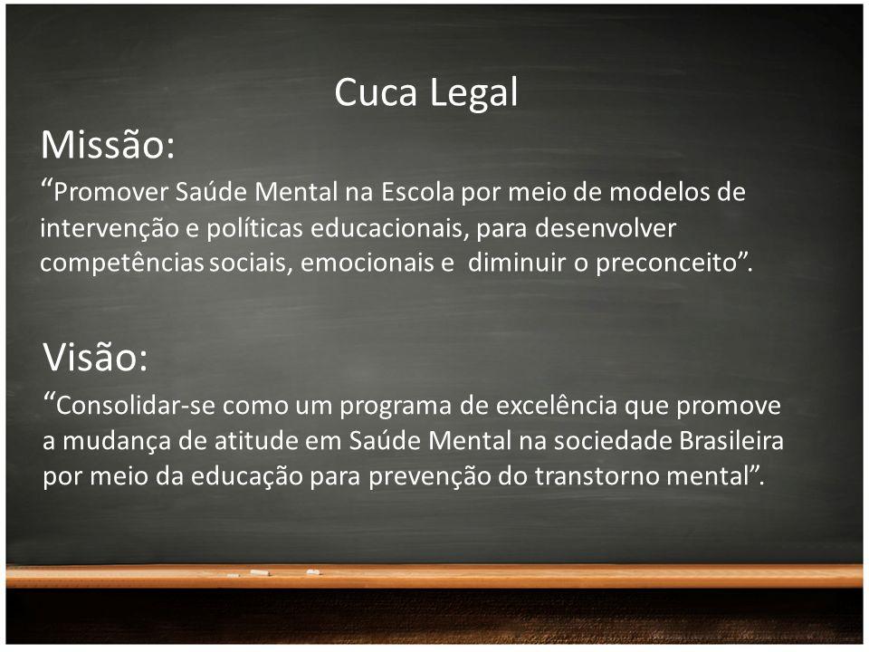 Cuca Legal Missão: Promover Saúde Mental na Escola por meio de modelos de intervenção e políticas educacionais, para desenvolver competências sociais,