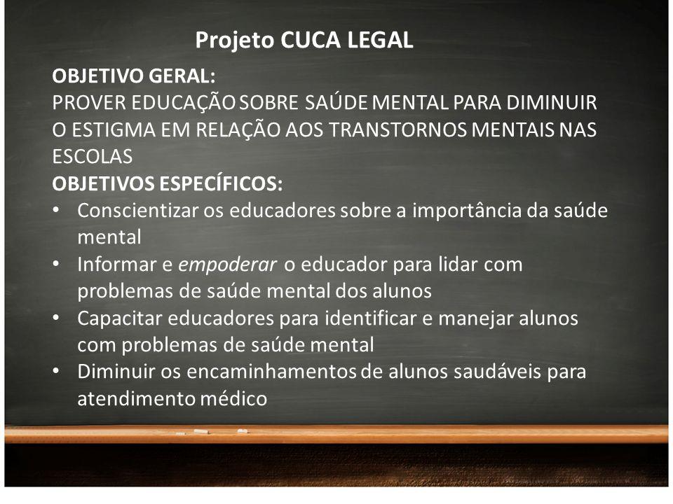 Projeto CUCA LEGAL OBJETIVO GERAL: PROVER EDUCAÇÃO SOBRE SAÚDE MENTAL PARA DIMINUIR O ESTIGMA EM RELAÇÃO AOS TRANSTORNOS MENTAIS NAS ESCOLAS OBJETIVOS