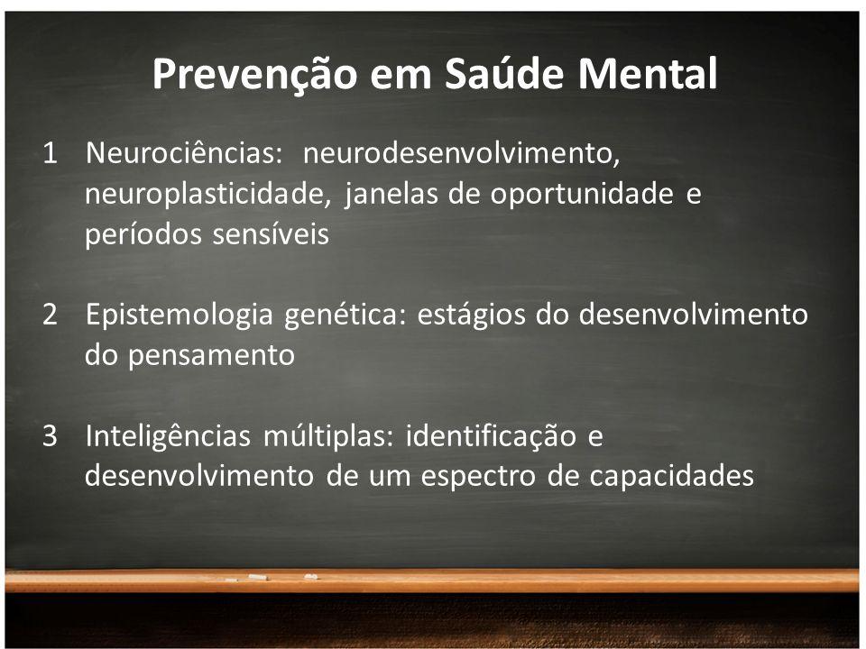 Prevenção em Saúde Mental 1Neurociências: neurodesenvolvimento, neuroplasticidade, janelas de oportunidade e períodos sensíveis 2Epistemologia genétic