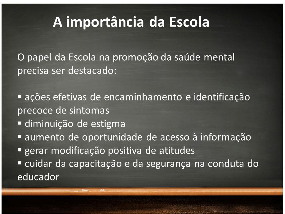 A importância da Escola O papel da Escola na promoção da saúde mental precisa ser destacado: ações efetivas de encaminhamento e identificação precoce