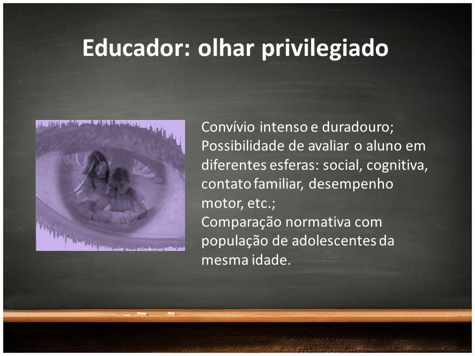 Educador: olhar privilegiado Convívio intenso e duradouro; Possibilidade de avaliar o aluno em diferentes esferas: social, cognitiva, contato familiar
