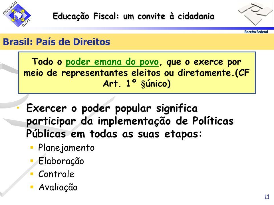 Educação Fiscal: um convite à cidadania 11 Exercer o poder popular significa participar da implementação de Políticas Públicas em todas as suas etapas