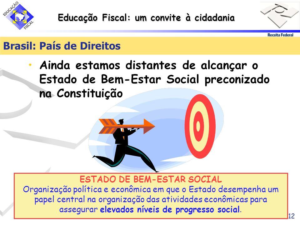 Educação Fiscal: um convite à cidadania 12 Brasil: País de Direitos Ainda estamos distantes de alcançar o Estado de Bem-Estar Social preconizado na Co