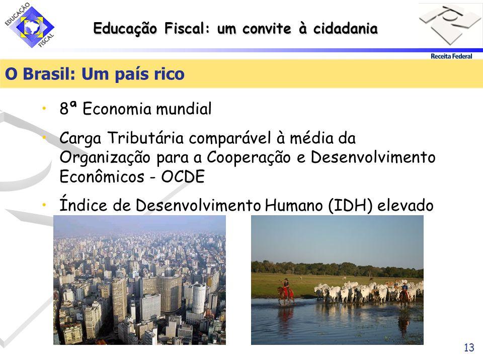 Educação Fiscal: um convite à cidadania 13 O Brasil: Um país rico 8ª Economia mundial Carga Tributária comparável à média da Organização para a Cooper