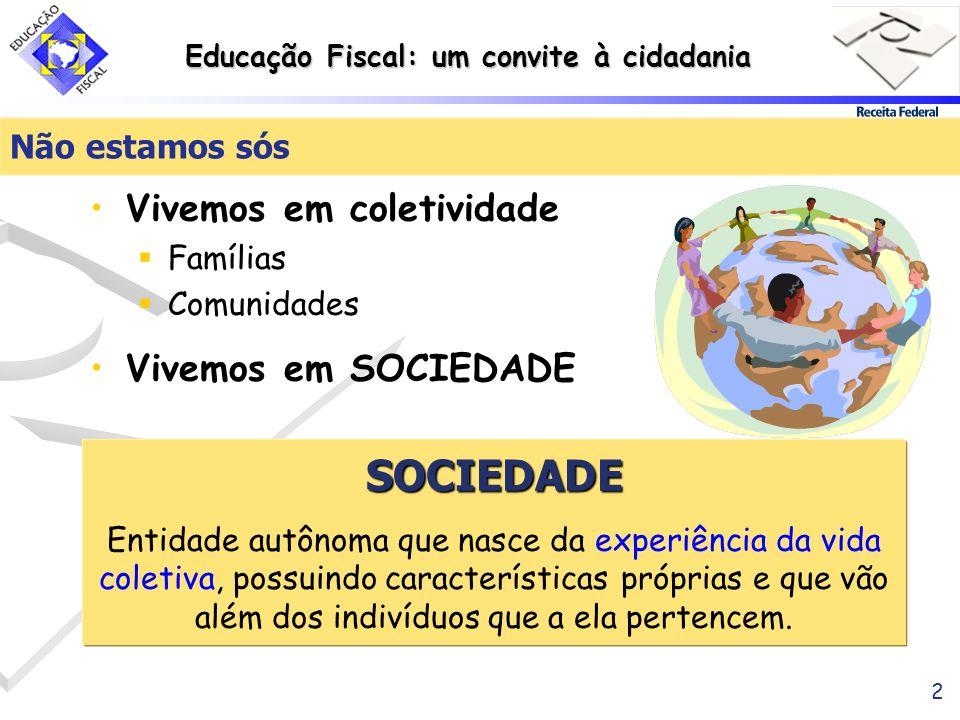 Educação Fiscal: um convite à cidadania 2 Não estamos sós Vivemos em coletividade Famílias Comunidades Vivemos em SOCIEDADE SOCIEDADE Entidade autônom