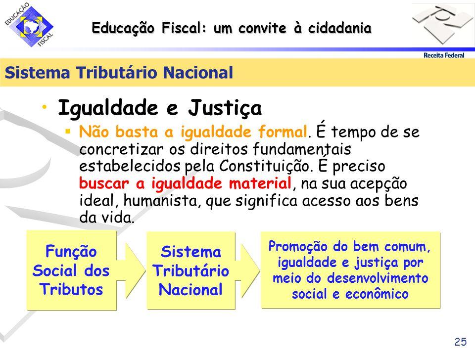 Educação Fiscal: um convite à cidadania 25 Sistema Tributário Nacional Igualdade e Justiça Não basta a igualdade formal. É tempo de se concretizar os