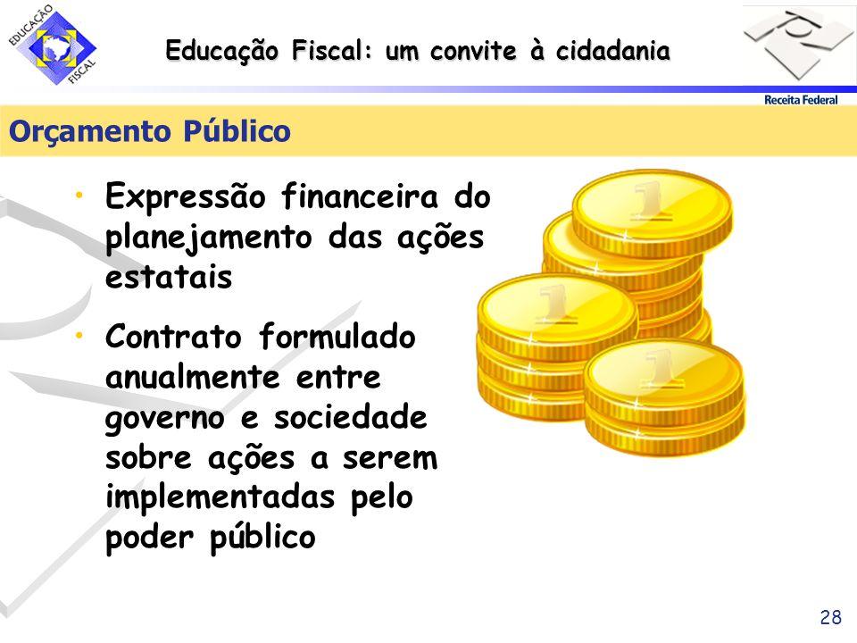 Educação Fiscal: um convite à cidadania 28 Orçamento Público Expressão financeira do planejamento das ações estatais Contrato formulado anualmente ent