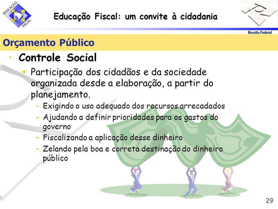 Educação Fiscal: um convite à cidadania 29 Orçamento Público Controle Social Participação dos cidadãos e da sociedade organizada desde a elaboração, a