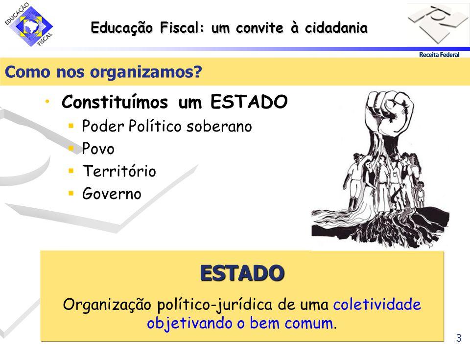 Educação Fiscal: um convite à cidadania 3 Como nos organizamos? Constituímos um ESTADO Poder Político soberano Povo Território Governo ESTADO Organiza