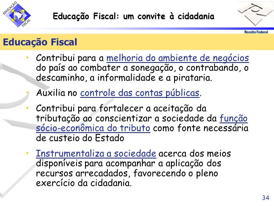 Educação Fiscal: um convite à cidadania 34 Educação Fiscal Contribui para a melhoria do ambiente de negócios do país ao combater a sonegação, o contra
