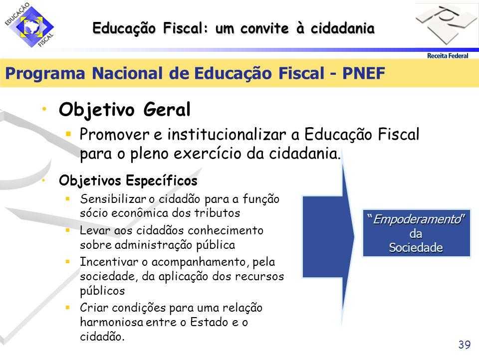Educação Fiscal: um convite à cidadania 39 Programa Nacional de Educação Fiscal - PNEF Objetivo Geral Promover e institucionalizar a Educação Fiscal p