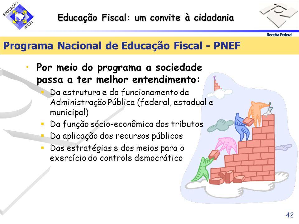 Educação Fiscal: um convite à cidadania 42 Programa Nacional de Educação Fiscal - PNEF Por meio do programa a sociedade passa a ter melhor entendiment