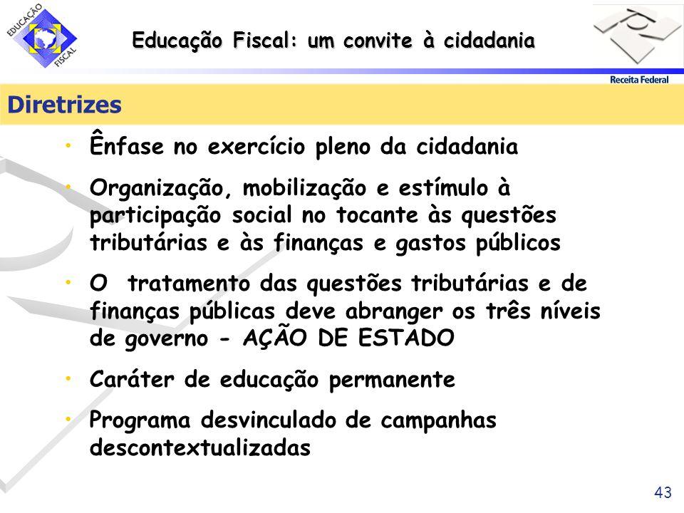 Educação Fiscal: um convite à cidadania 43 Diretrizes Ênfase no exercício pleno da cidadania Organização, mobilização e estímulo à participação social