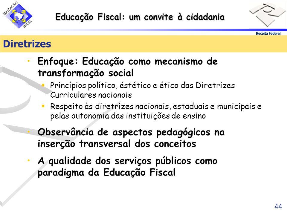 Educação Fiscal: um convite à cidadania 44 Diretrizes Enfoque: Educação como mecanismo de transformação social Princípios político, éstético e ético d
