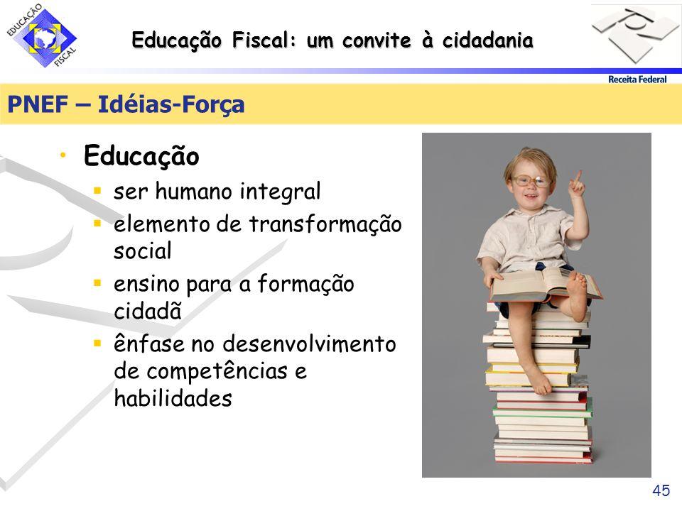 Educação Fiscal: um convite à cidadania 45 PNEF – Idéias-Força Educação ser humano integral elemento de transformação social ensino para a formação ci