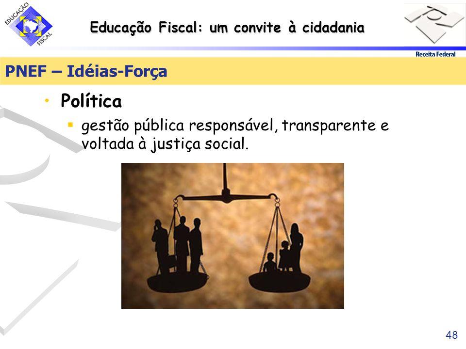 Educação Fiscal: um convite à cidadania 48 PNEF – Idéias-Força Política gestão pública responsável, transparente e voltada à justiça social.