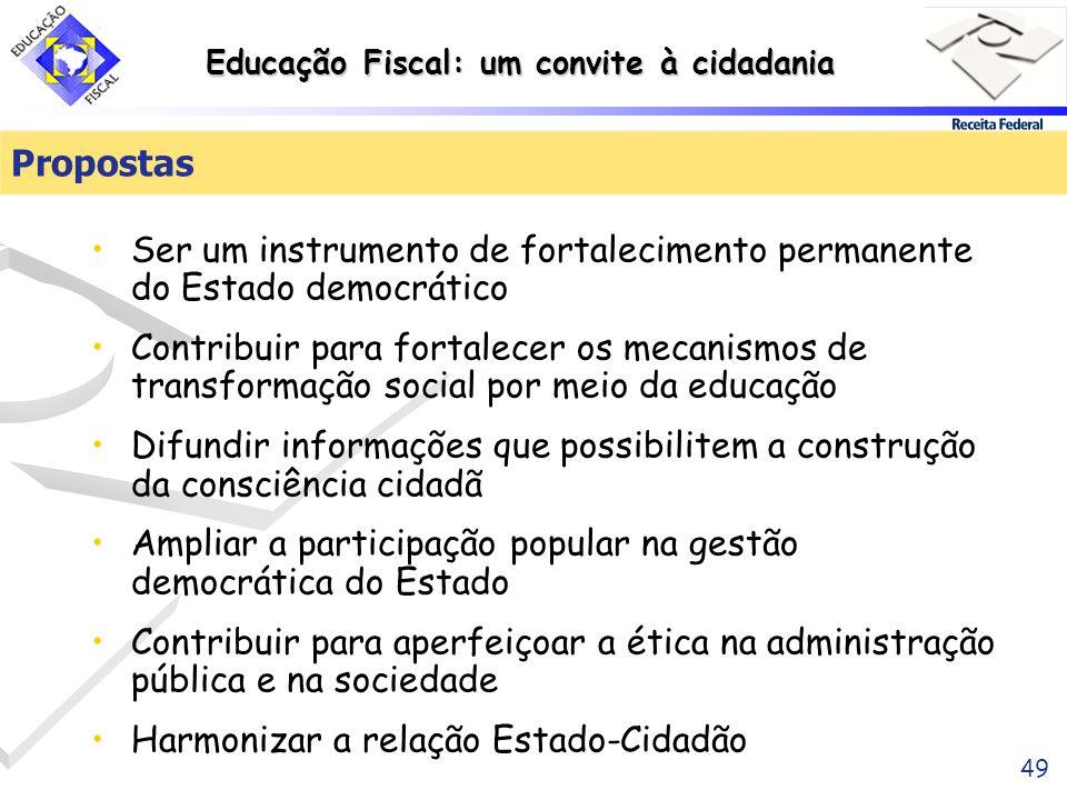 Educação Fiscal: um convite à cidadania 49 Ser um instrumento de fortalecimento permanente do Estado democrático Contribuir para fortalecer os mecanis