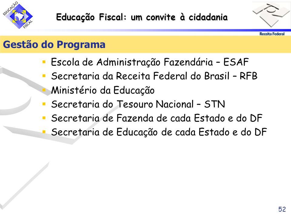 Educação Fiscal: um convite à cidadania 52 Gestão do Programa Escola de Administração Fazendária – ESAF Secretaria da Receita Federal do Brasil – RFB