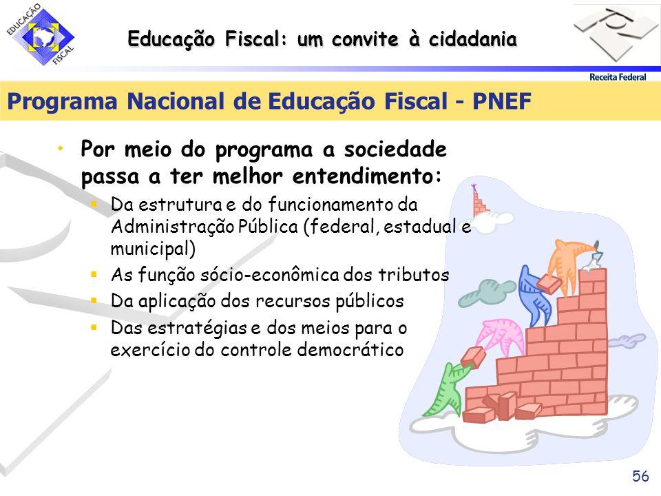 Educação Fiscal: um convite à cidadania 56 Programa Nacional de Educação Fiscal - PNEF Por meio do programa a sociedade passa a ter melhor entendiment