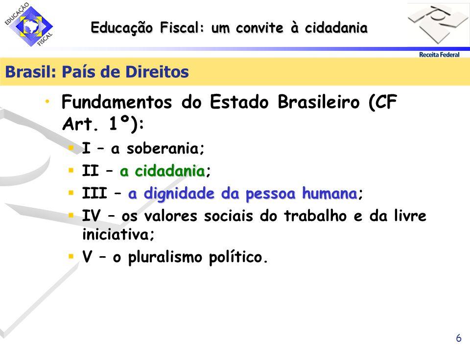 Educação Fiscal: um convite à cidadania 6 Brasil: País de Direitos Fundamentos do Estado Brasileiro (CF Art. 1º): I – a soberania; a cidadania II – a