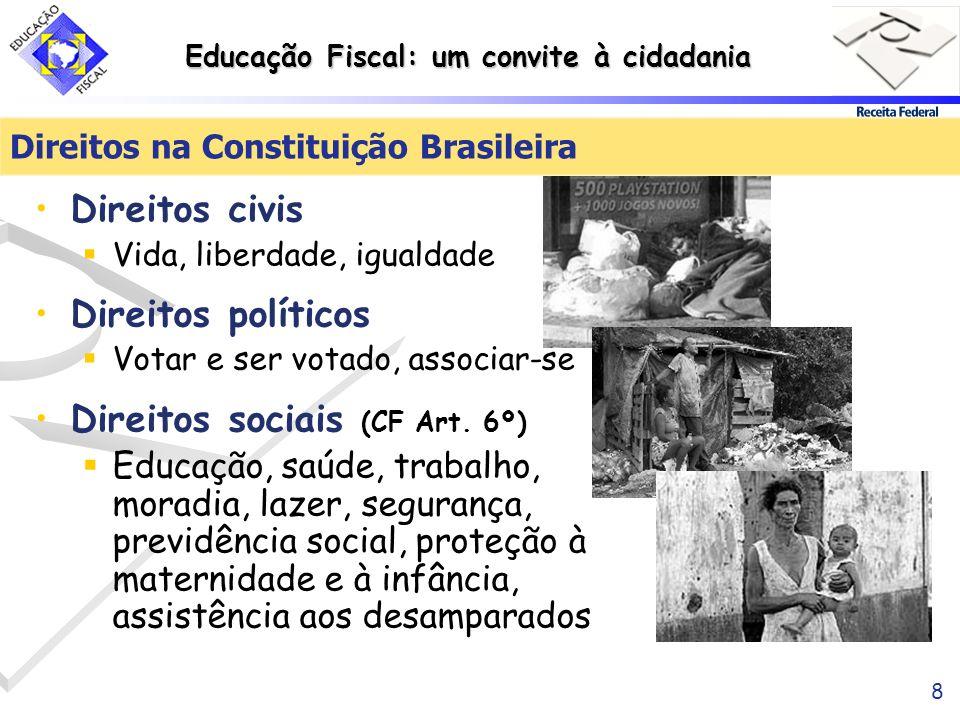 Educação Fiscal: um convite à cidadania 8 Direitos civis Vida, liberdade, igualdade Direitos políticos Votar e ser votado, associar-se Direitos sociai