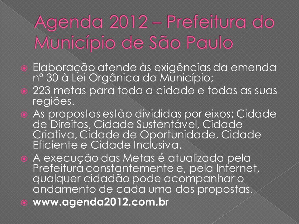 Elaboração atende às exigências da emenda nº 30 à Lei Orgânica do Município; 223 metas para toda a cidade e todas as suas regiões.
