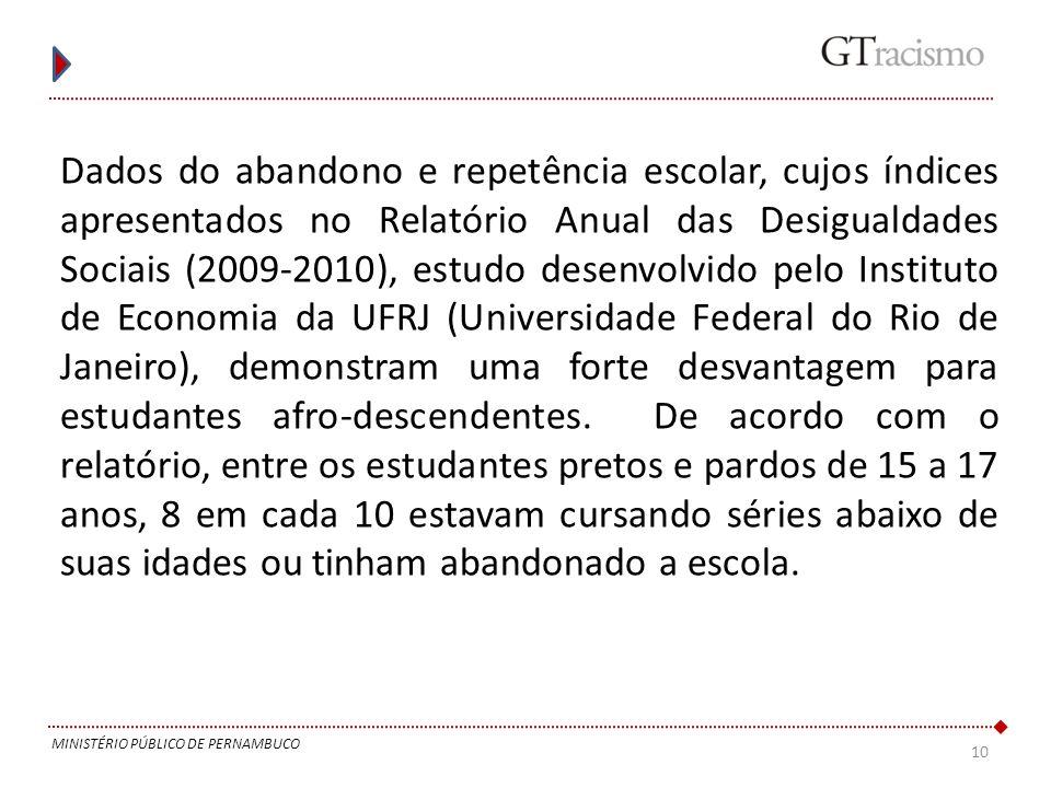 10 MINISTÉRIO PÚBLICO DE PERNAMBUCO Dados do abandono e repetência escolar, cujos índices apresentados no Relatório Anual das Desigualdades Sociais (2