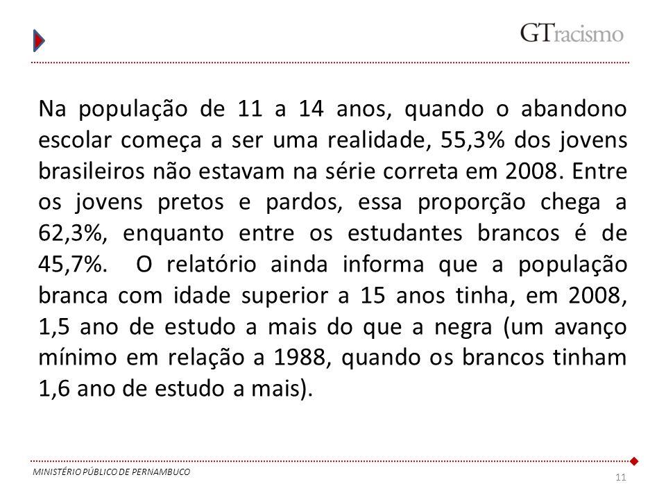 11 MINISTÉRIO PÚBLICO DE PERNAMBUCO Na população de 11 a 14 anos, quando o abandono escolar começa a ser uma realidade, 55,3% dos jovens brasileiros n