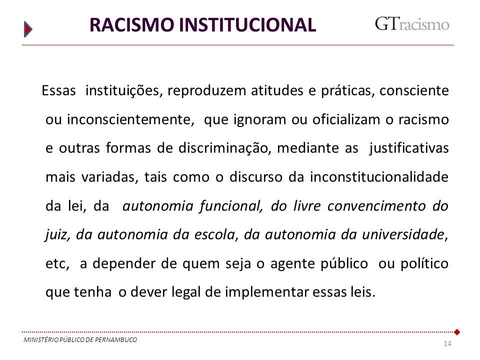14 MINISTÉRIO PÚBLICO DE PERNAMBUCO RACISMO INSTITUCIONAL Essas instituições, reproduzem atitudes e práticas, consciente ou inconscientemente, que ign