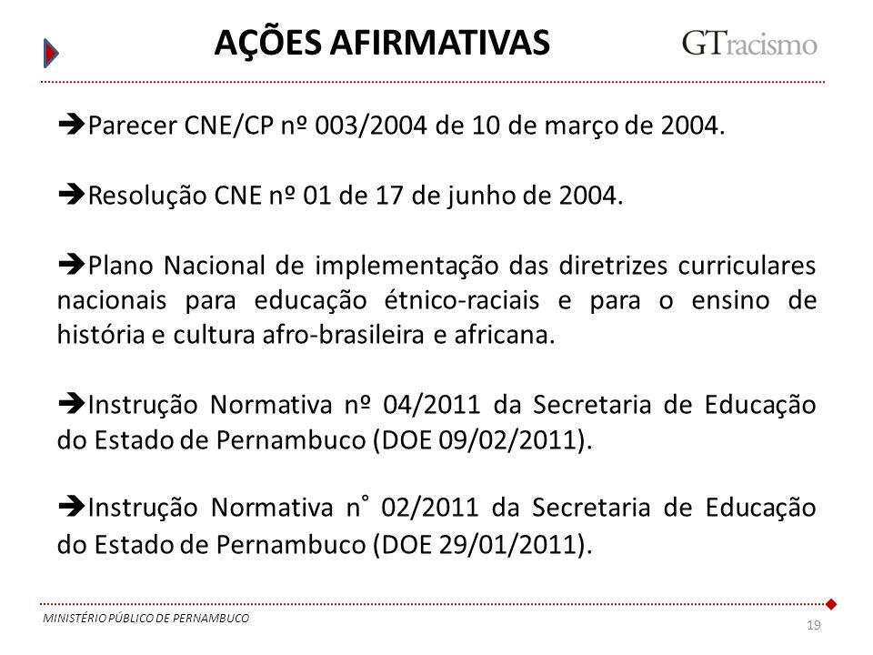 19 MINISTÉRIO PÚBLICO DE PERNAMBUCO AÇÕES AFIRMATIVAS Parecer CNE/CP nº 003/2004 de 10 de março de 2004. Resolução CNE nº 01 de 17 de junho de 2004. P