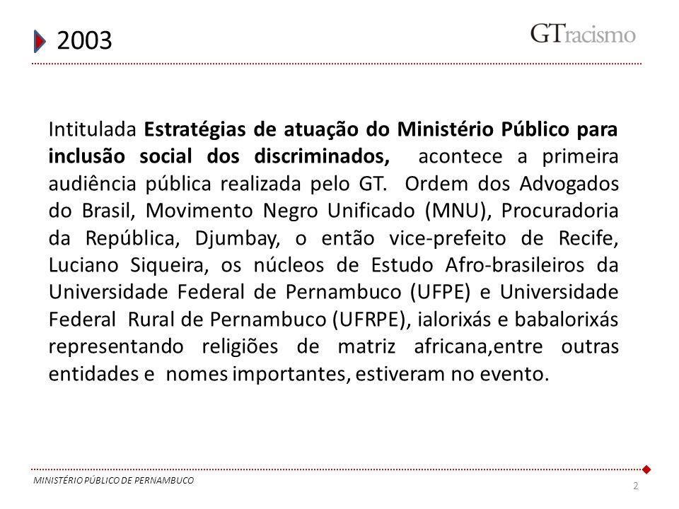 2 2003 MINISTÉRIO PÚBLICO DE PERNAMBUCO Intitulada Estratégias de atuação do Ministério Público para inclusão social dos discriminados, acontece a pri