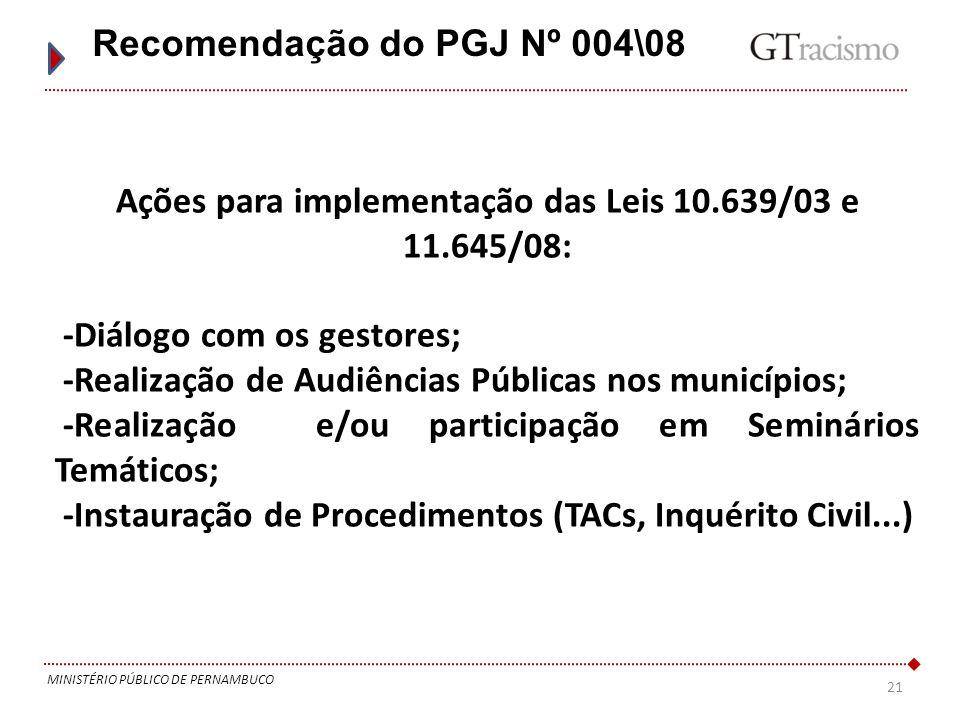 21 MINISTÉRIO PÚBLICO DE PERNAMBUCO Recomendação do PGJ Nº 004\08 Ações para implementação das Leis 10.639/03 e 11.645/08: -Diálogo com os gestores; -