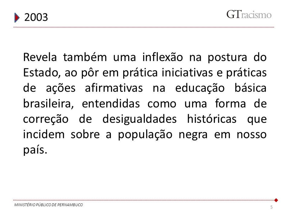5 2003 MINISTÉRIO PÚBLICO DE PERNAMBUCO Revela também uma inflexão na postura do Estado, ao pôr em prática iniciativas e práticas de ações afirmativas