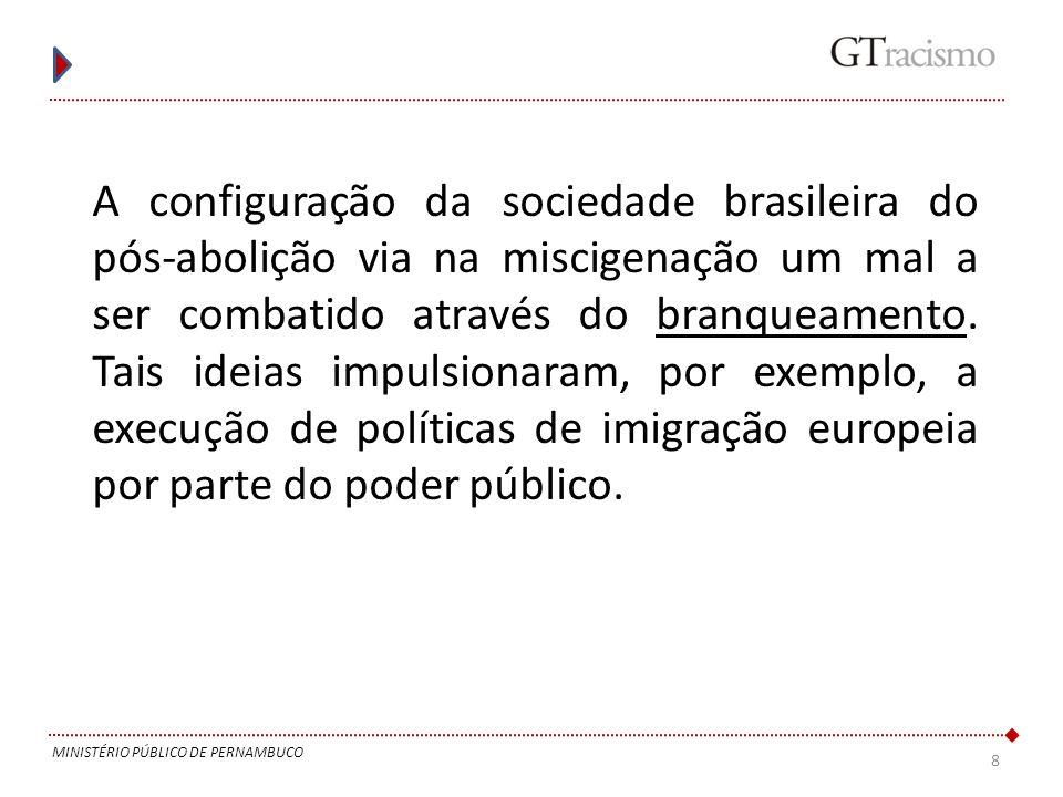 8 MINISTÉRIO PÚBLICO DE PERNAMBUCO A configuração da sociedade brasileira do pós-abolição via na miscigenação um mal a ser combatido através do branqu