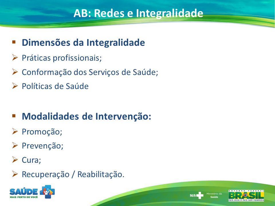 AB: Redes e Integralidade Dimensões da Integralidade Práticas profissionais; Conformação dos Serviços de Saúde; Políticas de Saúde Modalidades de Intervenção: Promoção; Prevenção; Cura; Recuperação / Reabilitação.