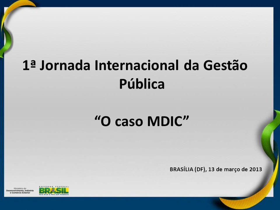 PRINCIPAIS ATIVIDADES: Mobilizar organizações do Sistema MDIC para o Planejamento Integrado Alinhar expectativas e levantar informações Elaborar Missão e Visão do Sistema MDIC Identificar Temas Estratégicos Definir Objetivos Estratégicos Alinhar o Planejamento Estratégico do SMDIC com o Plano Brasil Maior Gerar e difundir conhecimento sobre a estratégia do SMDIC PRINCIPAL PRODUTO FINAL: Mapa Estratégico do SMDIC Construir a Agenda Estratégica do Sistema MDIC 1 Concluído Alinhar a Estrutura de Implementação 3 PRINCIPAIS ATIVIDADES: Identificar a contribuição de cada organização do SMDIC para o cumprimento dos Objetivos Estratégicos Estruturar as contribuições das organizações em Arranjos de Implementação coerentes, com foco no cumprimento das macrometas do Planejamento Pactuação e contratualização dos Arranjos de Implementação junto às organizações do SMDIC PRINCIPAL PRODUTO FINAL: Arranjos de Implementação das Estratégias do SMDIC Implantar Mecanismos de Monitoramento e Avaliação 2 PRINCIPAIS ATIVIDADES: Definir indicadores de esforço e resultado para avaliação da execução da estratégia do SMDIC Concepção de Ciclo de Gestão Estratégica do SMDIC, para monitorar e avaliar a execução da estratégia Definir arquitetura de governança para Gestão Estratégica do SMDIC, articulada com as organizações do SMDIC e com os fóruns interministeriais de decisão PRINCIPAL PRODUTO FINAL: Quadro de Indicadores e Estrutura de Governança Concluído